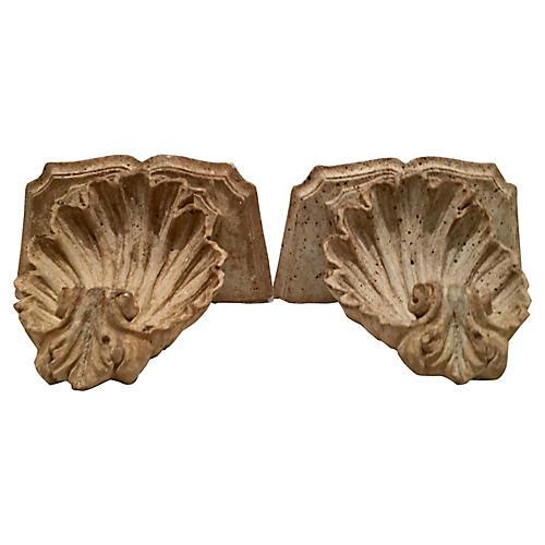 Scallop Shell Stone Corbel Brackets