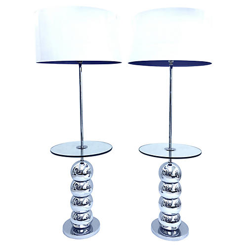 Pair Chrome Ball Tablle Floor Lamps