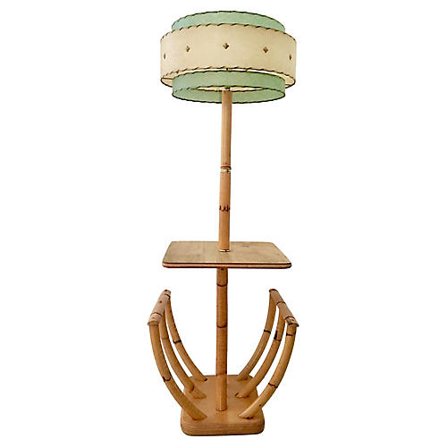 Rattan Floor Lamp w/ Table