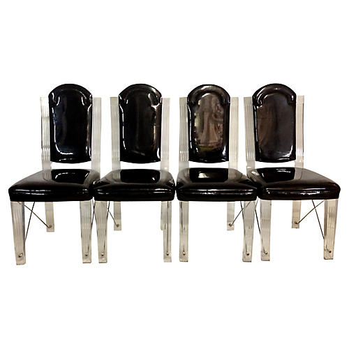 1970s Lucite & Chrome Chairs, S/4