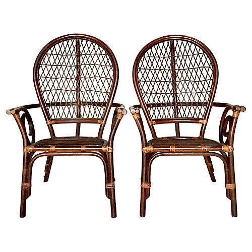 Rattan High-Back Chairs, Pair