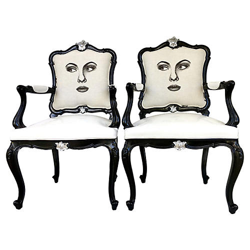 Louis XVI-Style Two-Face Armchairs, Pair