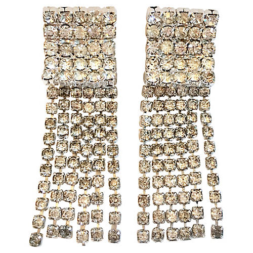 1960s Hobé Crystal Chandelier Earrings