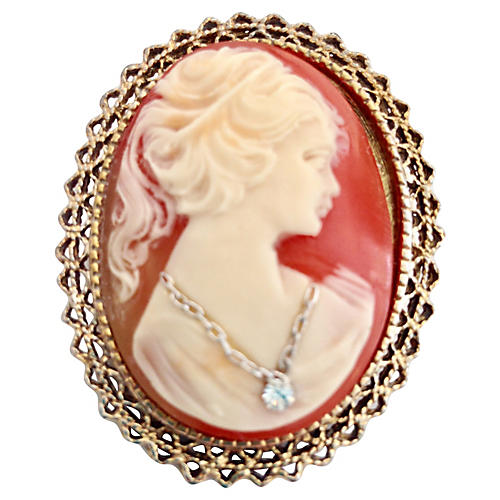 14K Gold, Coral Cameo & Diamond Brooch