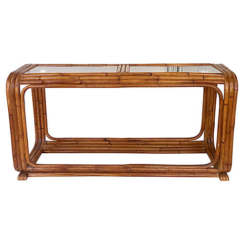 Paul Frankl Rattan Console Table