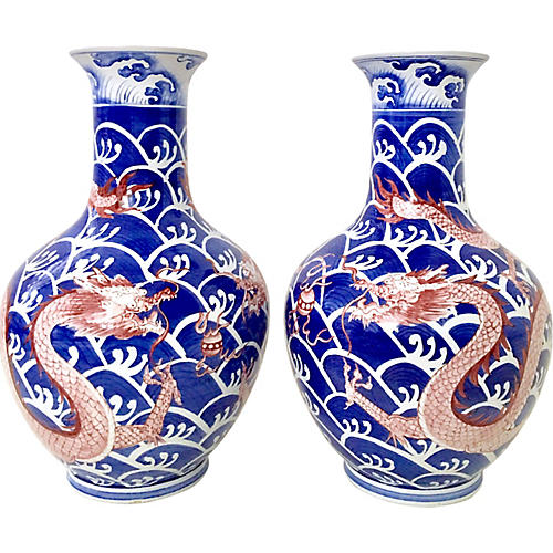 Chinese Export Dragon Vases, Pair