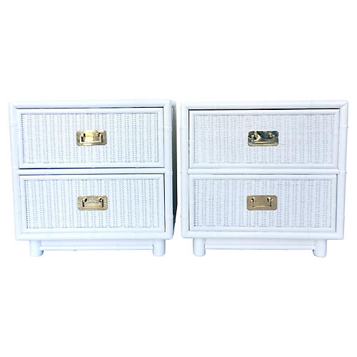 Campaign-Style Nightstands, Pair