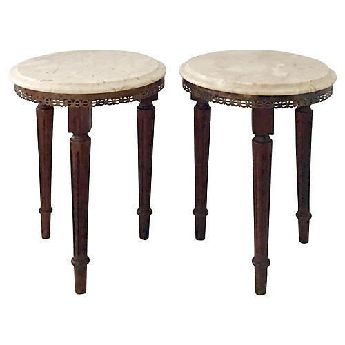 French Marble-Top Tables, Pair