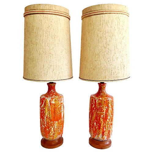 Ceramic Lava-Glaze Lamps, S/2