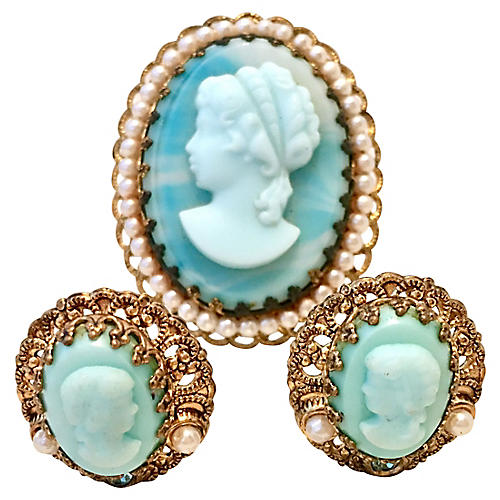 Blue Cameo Brooch & Earrings
