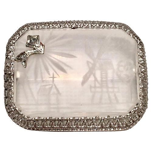 Platinum & Diamond Rock Crystal Brooch