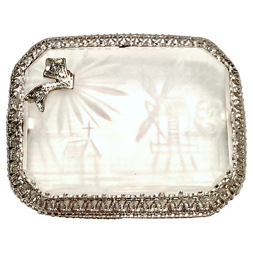 Platinum & Diamond Rock Crystal Brooch