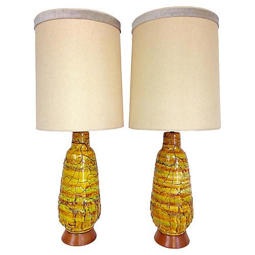 Midcentury Monumental Ceramic Lamps, S/2
