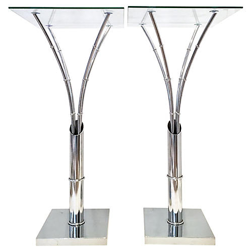 Chrome Glass-Top Side Tables, Pair