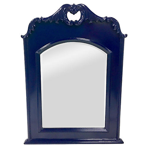 Mahogany Federal Blue Lacquered Mirror