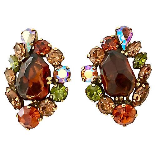 Gold & Crystal Earrings By, Julianna