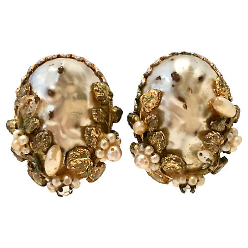 40'S Gold & Faux Pearl Earrings By, Coro