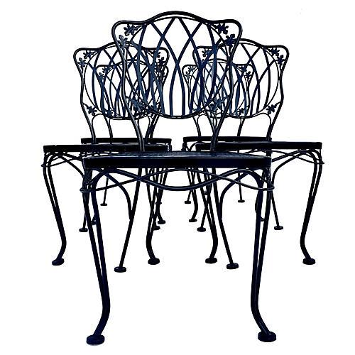 Woodard Wrought Iron Chairs, S/5