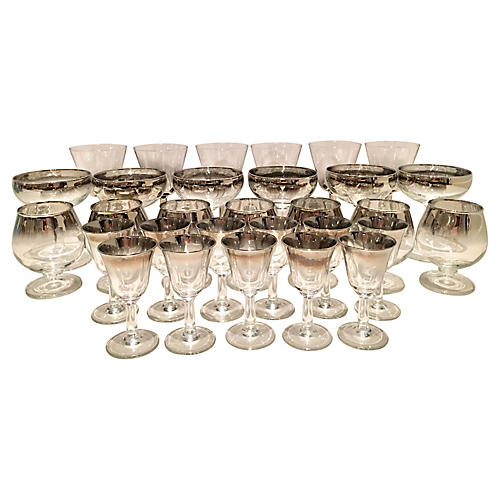 D. Thorpe Silver Overlay Glasses, 30 Pcs
