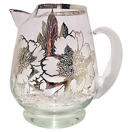Glass & Sterling Pitcher by Thorpe