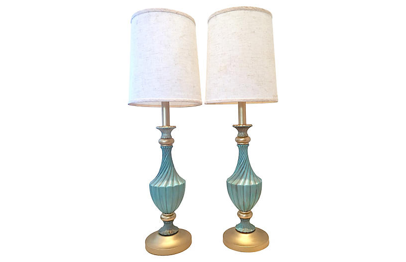 Ceramic & Brass Lamps by Stiffel, Pair
