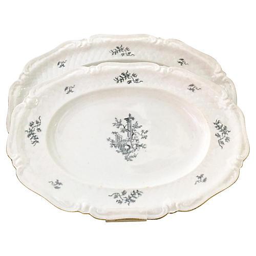 German Porcelain La Reine Platters, S/2
