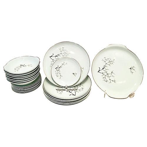 Ceramic & Platinum Dinnerware, 22 Pcs