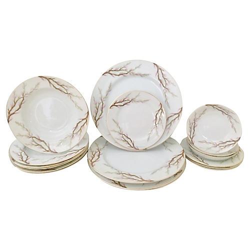Japan Porcelain Dinnerware Set, S/17