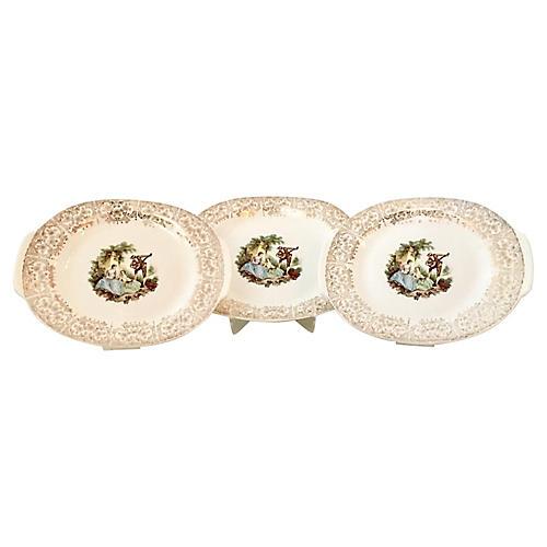 1940s Ceramic & 22K Gold Platters, S/3