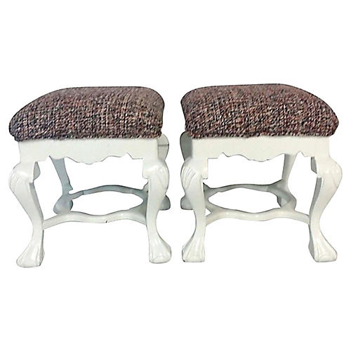 Queen Anne Upholstered Benches, Pair