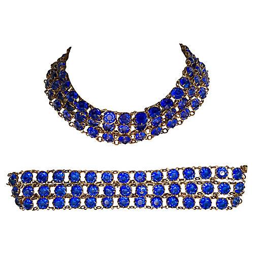 Blue Glass Necklace & Bracelet