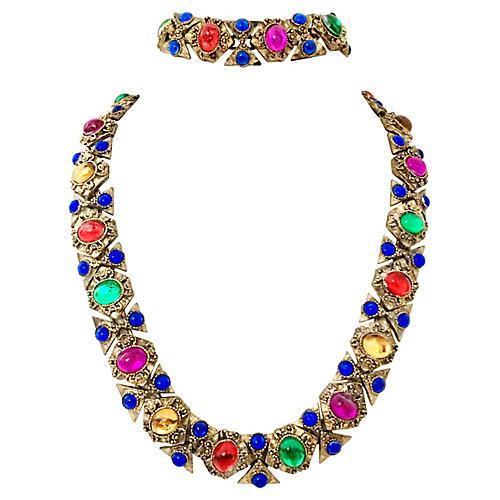 Gilt Cabochon Necklace & Bracelet Set