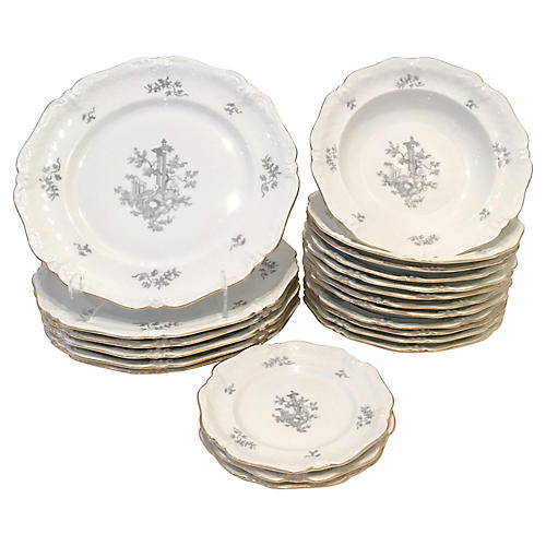 German Porcelain Dinnerware Set, 21 Pcs