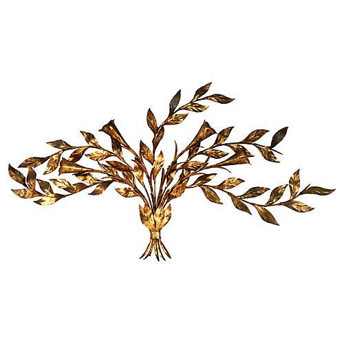 "Italian Gold Leaf ""Tole"" Wall Sculpture"