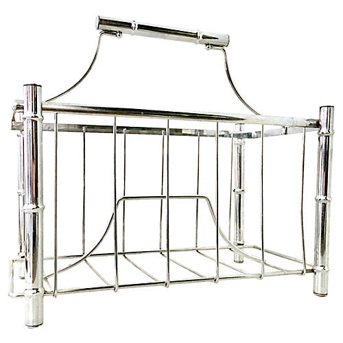 1970s Chrome Bamboo-Style Magazine Rack