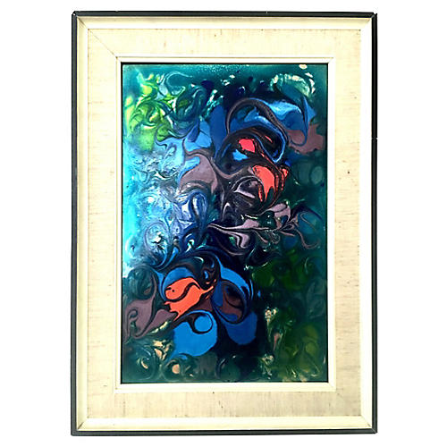 Original Enamel Copper Abstract Painting