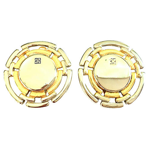 1990s Givenchy Two-Tone Wheel Earrings