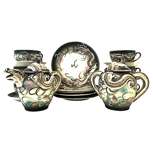 Japanese Dragonware Tea Set, 19 Pcs