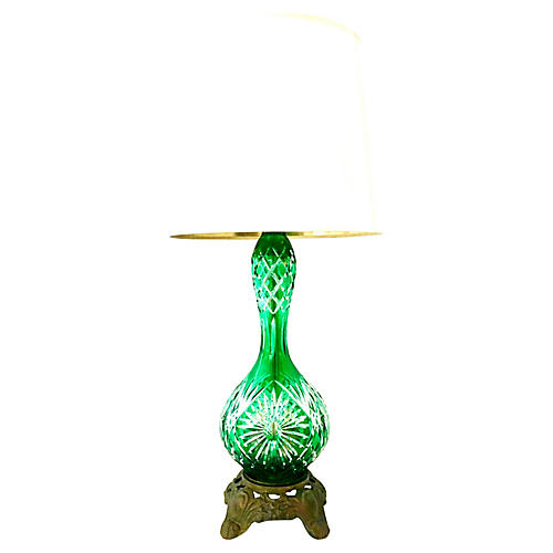 Cut-Crystal Emerald Bohemia Lamp
