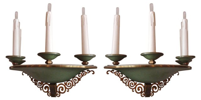 French Art Deco Sconces, Pair