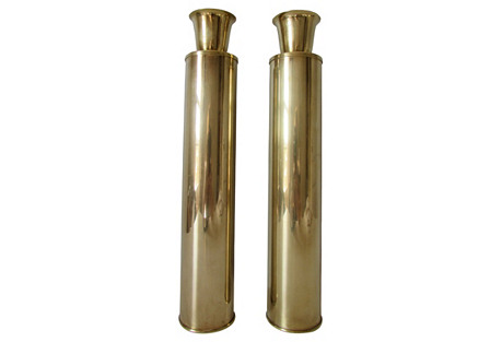 Cylinder Brass Candlesticks, S/2