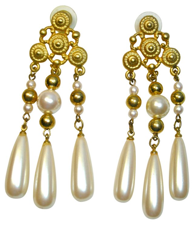 Givenchy Tiered Faux-Pearl Earrings