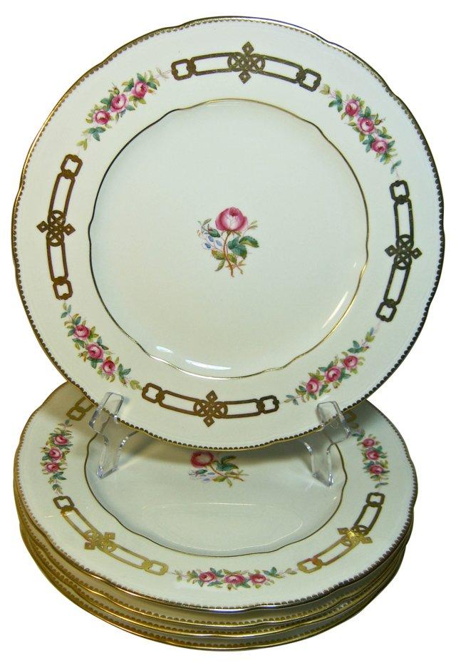 Spode Copeland Rose & Gold Plates, S/5