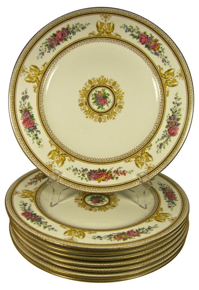 Wedgwood Floral Dinner Plates, S/8