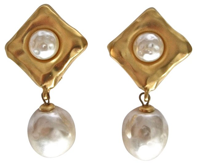 Lagerfeld Faux-Pearl Drop Earrings