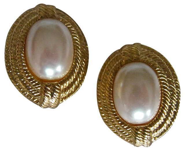 Givenchy Oval Faux-Pearl Earrings