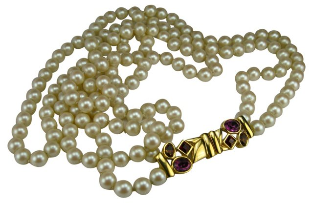 1980s Glass Pearl Bejeweled Necklace