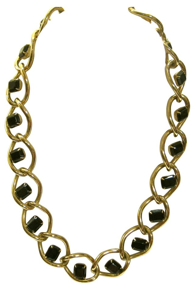 Givenchy Gold & Black Glass Necklace
