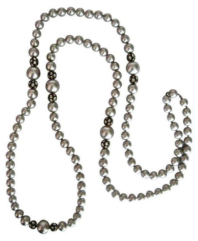 Gray Glass Pearl & Rhinestone Necklace