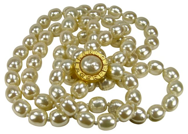 Lagerfeld Glass Baroque Pearl Necklace